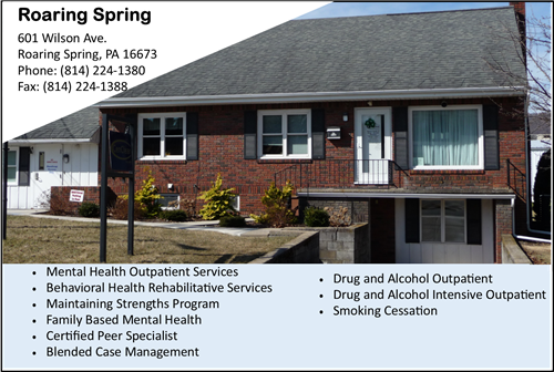 CenClear Roaring Spring Mental Health services Roaring Spring Drug and Alcohol Services Blair County drug and alcohol service