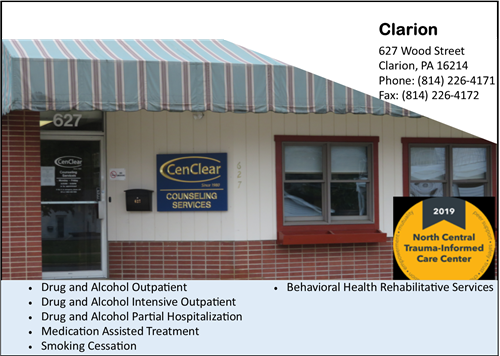 drug and alcohol counseling near Clarion Clarion addiction services CenClear drug and alcohol counseling step down from rehab