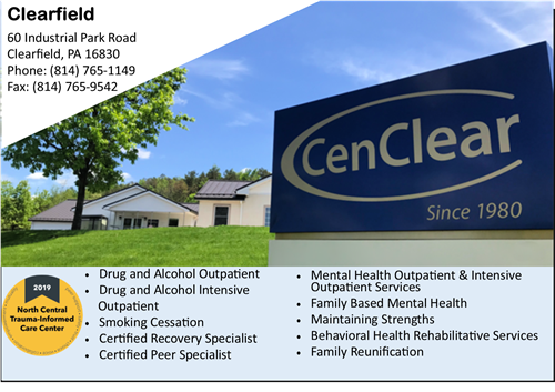 Clearfield addiction drug and alcohol treatment Clearfield mental health services CenClear Clearfield Mental Health Addiction