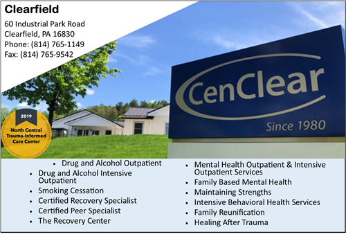 Clearfield drug and alcohol services Clearfield Mental Health services CenClear Clearfield drug and alcohol services CenClear