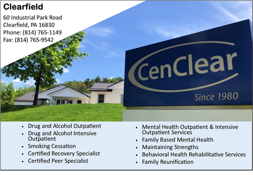 CenClear Clearfield mental health services Clearfield Drug and alcohol services CenClear
