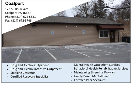 Mental Health Services near Clearfield Drug and alcohol counseling near Clearfield addiction near Coalport CenClear Mental He