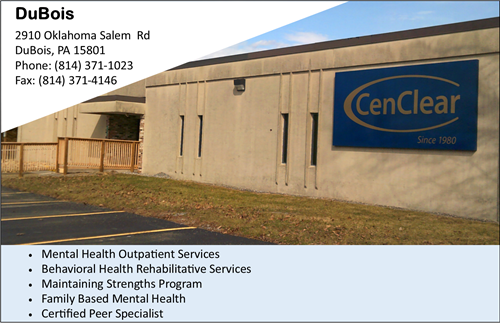 Mental Health Services near DuBois CenClear Mental Health Services Mental Health Services near Clearfield DuBois counseling