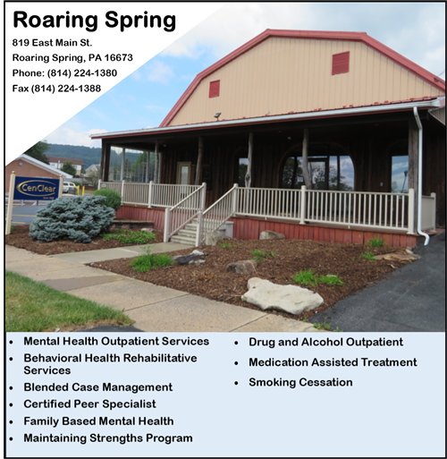 Roaring Spring mental health services Roaring Spring addiction Roaring Spring CenClear Mental Health CenClear