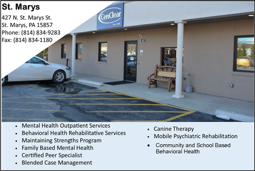 St. Marys mental health therapy depression anxiety biopolar therapy Emporium therapy Potter therapy Mental health