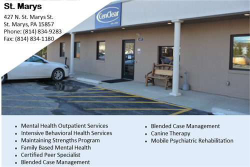 CenClear St. Marys mental health counseling and therapy Elk County mental health services psychiatrists