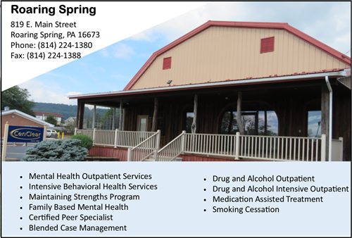 Roaring Spring Mental Health therapy, Roaring Spring Drug and Alcohol Therapy, Roaring Spring CenClear Mental Health