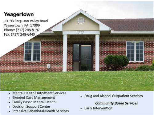 CenClear Yeagertown mental health and drug and alcohol addiction services Mifflin County