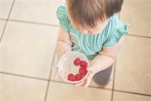 preschool child with berries
