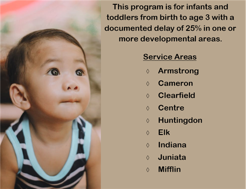 Early Intervention CenClear Mifflin Juniata Armstrong Indiana Speech therapy cognitive developmental delays