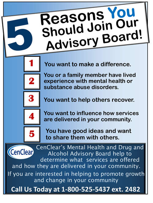 advisory board mental health drug and alcohol cenclear