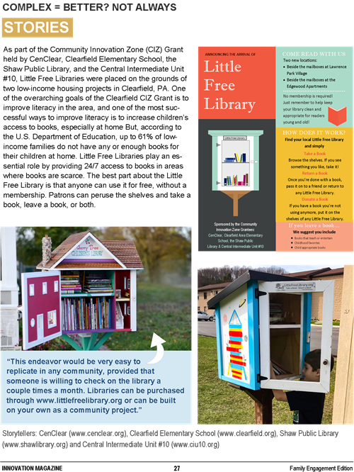 CenClear Little Libraries Innovation Magazine Children